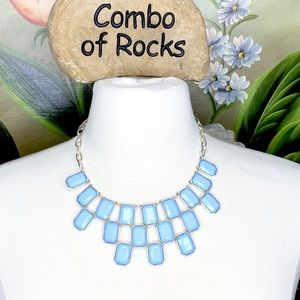 New York & Co Blue Silver Bib Statement Necklace